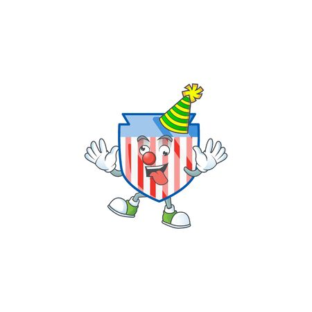 Cute and funny Clown USA stripes shield cartoon character mascot style Ilustrace
