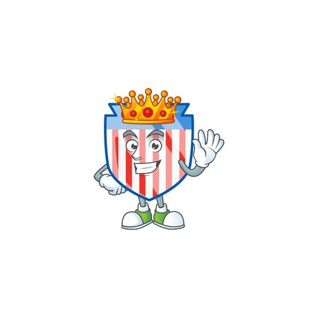 A dazzling of USA stripes shield stylized of King on cartoon mascot design