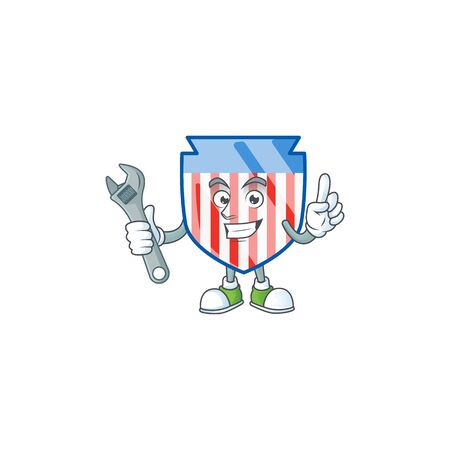 happily Mechanic USA stripes shield cartoon character design