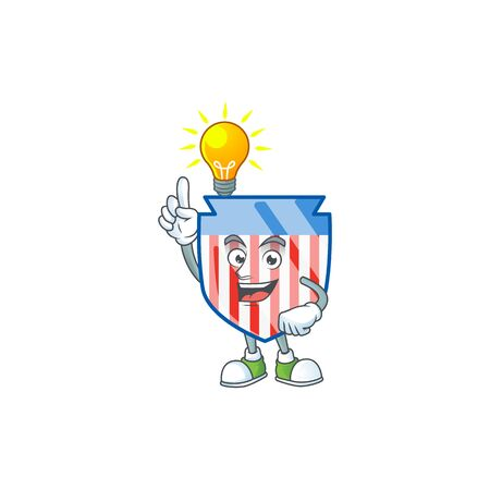 Smart USA stripes shield cartoon character has an idea