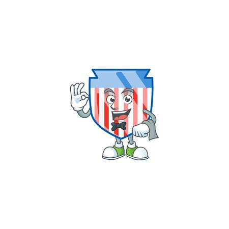 A USA stripes shield cartoon mascot working as a Waiter