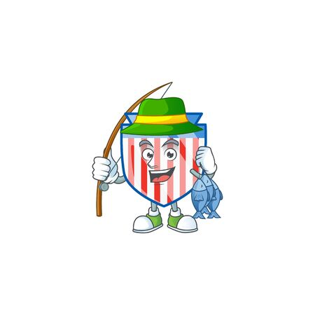 A mascot design of Fishing USA stripes shield with 3 fishes Ilustrace