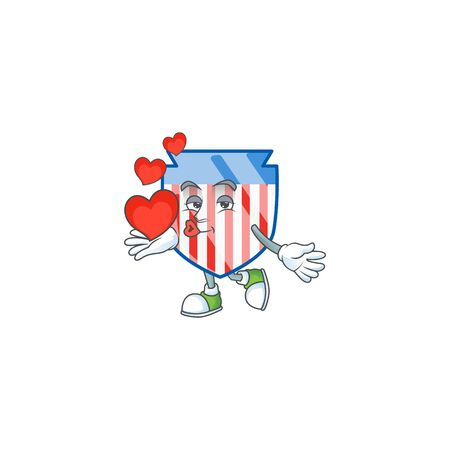 A sweetie USA stripes shield cartoon character holding a heart Ilustrace
