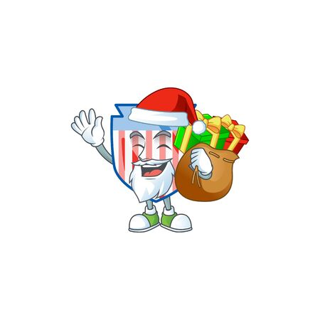 Santa USA stripes shield Cartoon design having a sack of gifts
