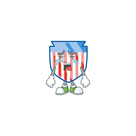 A crying USA stripes shield mascot design style. Vector illustration Ilustrace