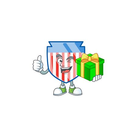 Cute USA stripes shield character holding a gift box
