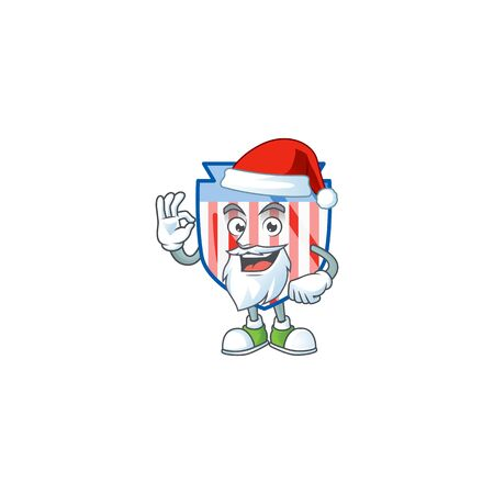 A lovely Santa USA stripes shield mascot picture style with ok finger