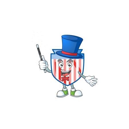 A character of USA stripes shield performance as a Magician Ilustrace