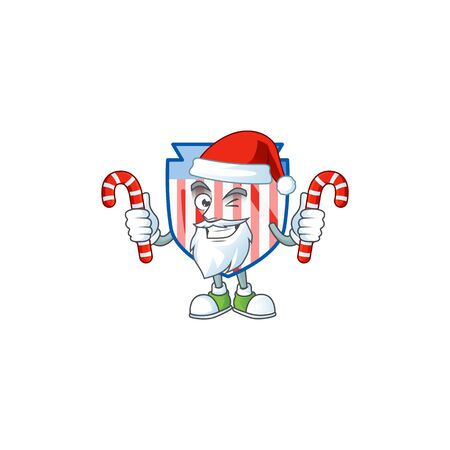 cartoon mascot style of USA stripes shield in Santa costume with candy