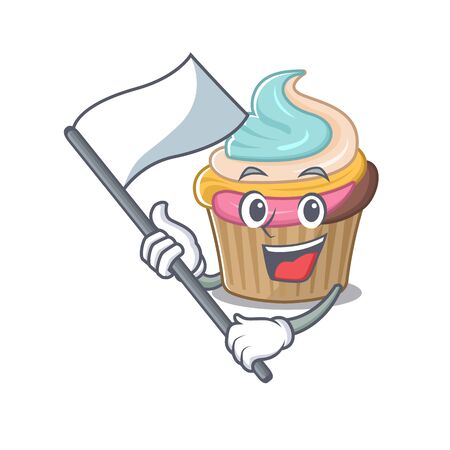 Funny rainbow cupcake cartoon character style holding a standing flag. Vector illustration
