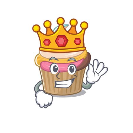 A cartoon mascot design of rainbow cupcake performed as a King on the stage. Vector illustration
