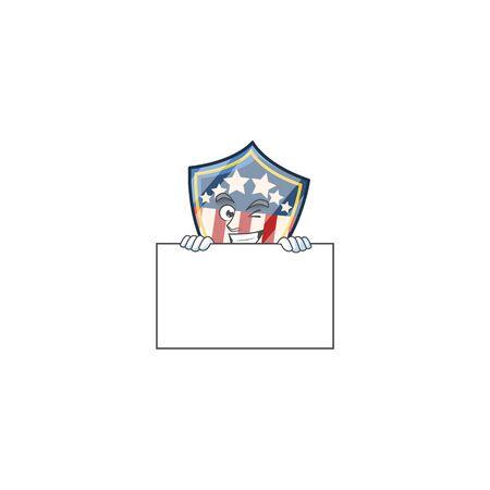 Vintage shield badges USA cartoon character with funny face hides behind a board. Vector illustration Ilustração