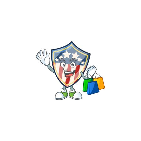 A rich vintage shield badges USA cartoon design waving and holding Shopping bag. Vector illustration Vettoriali