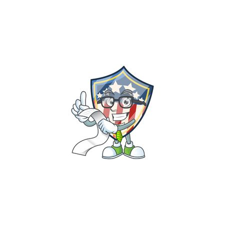 A funny face character of vintage shield badges USA holding a menu. Vector illustration