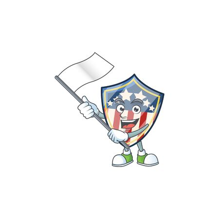 Funny vintage shield badges USA cartoon character design with a flag. Vector illustration
