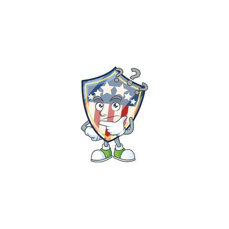 Vintage shield badges USA cartoon mascot style in a confuse gesture. Vector illustration Vettoriali