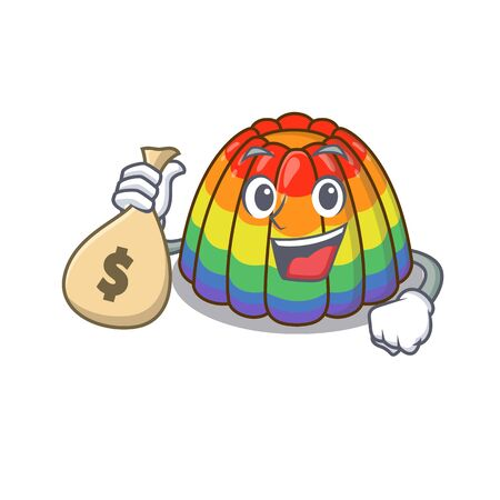 Rich and famous rainbow jelly cartoon character holding money bag