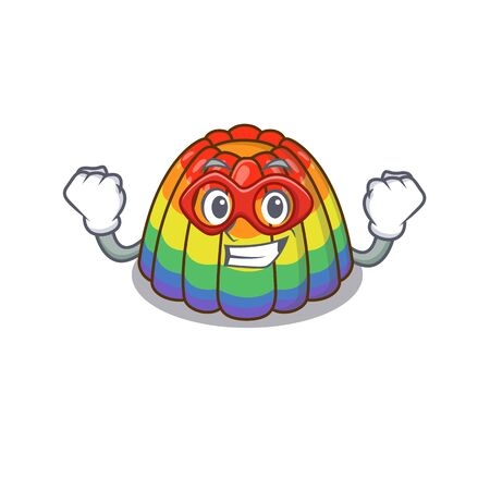 A cartoon concept of rainbow jelly performed as a Super hero