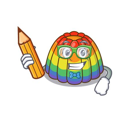 A smart Student rainbow jelly character holding pencil