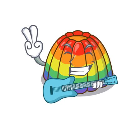 A picture of rainbow jelly playing a guitar