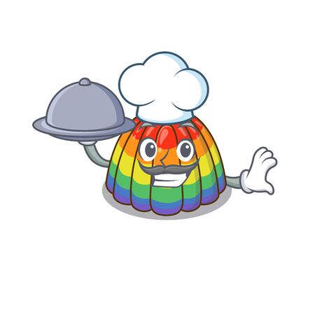 A picture of rainbow jelly as a Chef serving food on tray Illustration