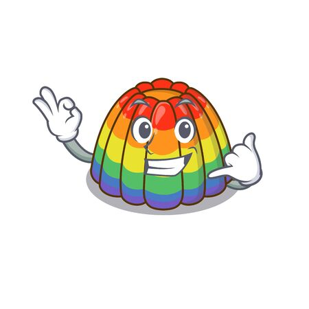 Call me funny rainbow jelly cartoon character concept. Vector illustration