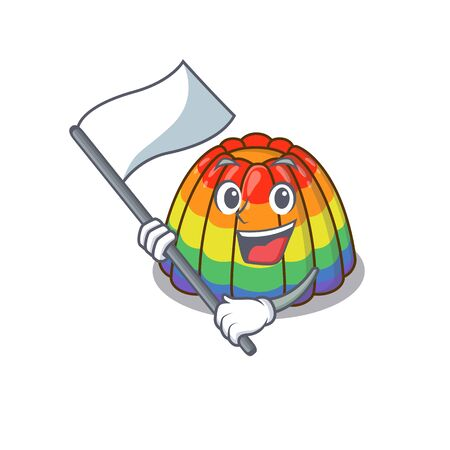 Funny rainbow jelly cartoon character style holding a standing flag. Vector illustration 일러스트
