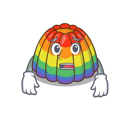A picture of rainbow jelly having an afraid face