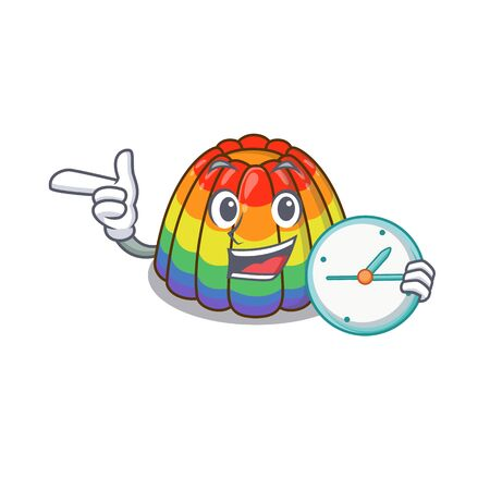 cartoon character concept rainbow jelly having clock. Vector illustration Stock Illustratie