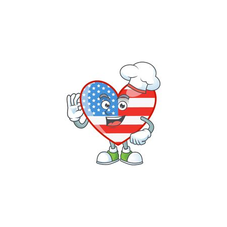 Independence day love cartoon character in a chef dress and white hat. Vector illustration Illustration