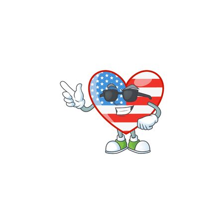 Super cool independence day love mascot character wearing black glasses. Vector illustration