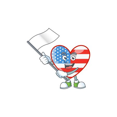 Funny independence day love cartoon character design with a flag. Vector illustration 일러스트