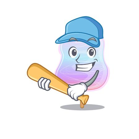 Smiley Funny rainbow cotton candy a mascot design with baseball 向量圖像