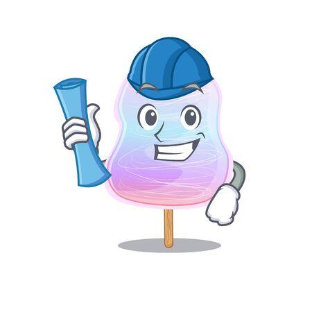 A success of rainbow cotton candy Architect having blue prints and blue helmet. Vector illustration