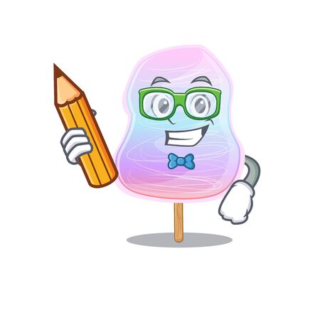 A smart Student rainbow cotton candy character holding pencil