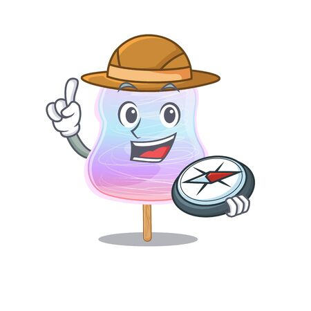 Rainbow cotton candy experienced Explorer using a compass. Vector illustration 向量圖像