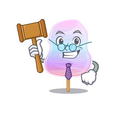 Smart Judge rainbow cotton candy in mascot cartoon character style. Vector illustration