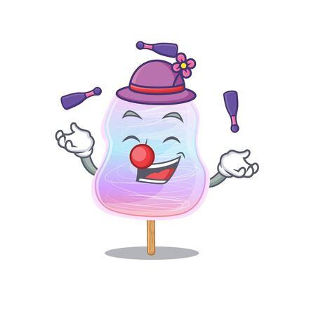 a lively rainbow cotton candy cartoon character design playing Juggling. Vector illustration Vectores