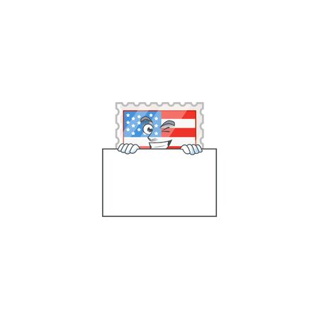 Independence day stamp cartoon character with funny face hides behind a board