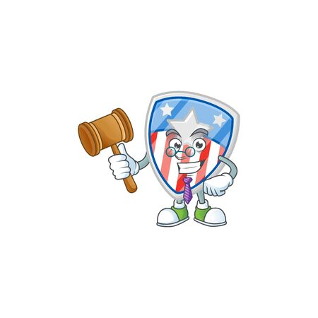 A wise Judge shield badges USA with star in comic strip character design