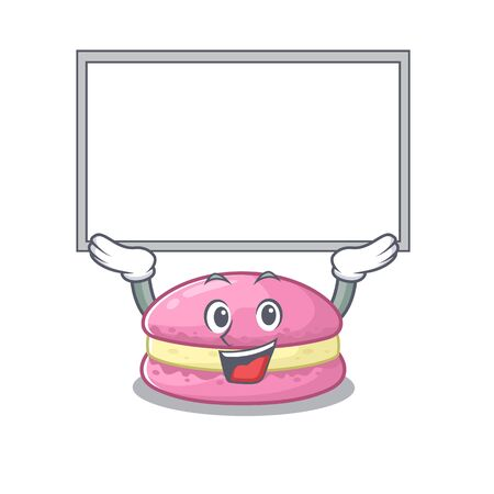 A strawberry macarons mascot picture raised up board. Vector illustration