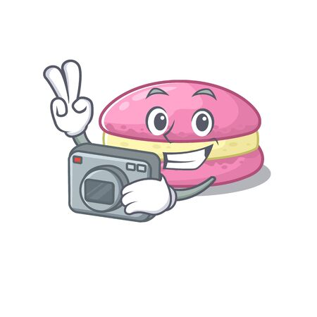 Cool Photographer strawberry macarons character with a camera. Vector illustration