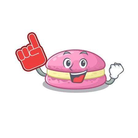 A picture of strawberry macarons mascot cartoon design holding a Foam finger. Vector illustration