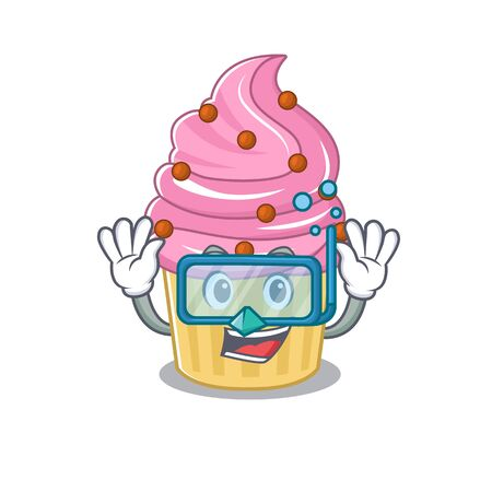 cartoon character of strawberry cupcake wearing Diving glasses. Vector illustration
