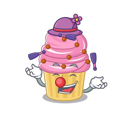 a lively Strawberry cupcake cartoon character design playing Juggling. Vector illustration