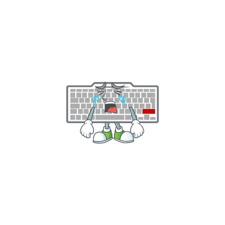 A crying white keyboard mascot design style. Vector illustration 向量圖像