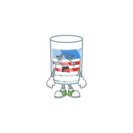 A crying USA stripes glass mascot design style Illustration