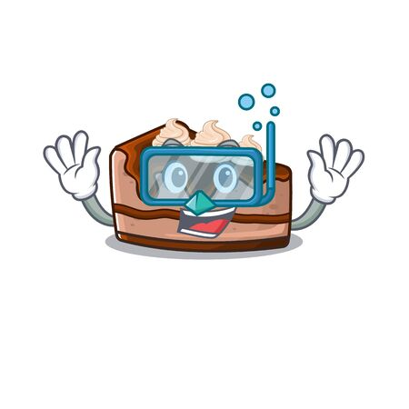 cartoon character of chocolate cheesecake wearing Diving glasses. Vector illustration