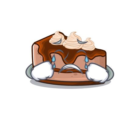 Chocolate cheesecake cartoon character concept with a sad face. Vector illustration