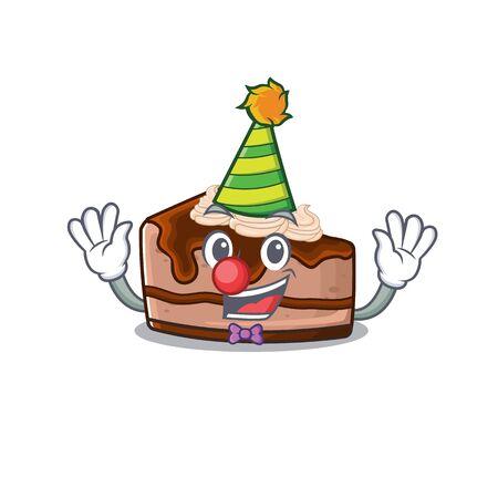 Funny Clown chocolate cheesecake cartoon character mascot design. Vector illustration